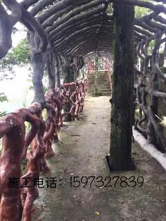 湖南贵州江西塑石假山假树大门木纹栏杆施工队伍图片3
