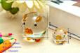 廣州熱銷中式玻璃工藝品純手工拉絲水晶豬創意小禮品