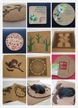 絲印商標、圖案環保軟木杯墊圓形/異形按要求生產定制圖片