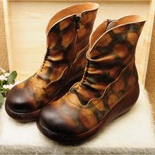广州真皮女鞋工厂批发生产外贸休闲手工复古原创民族风森女个性文艺女鞋女靴子图片