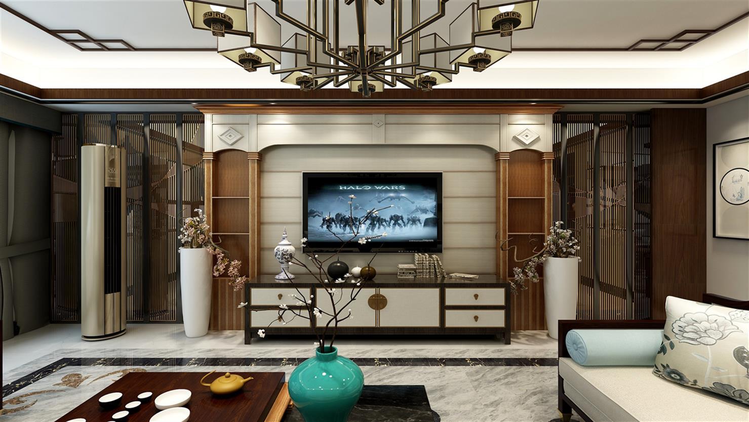 盛福水转印石塑罗马柱整体电视背景墙-「其他装饰... -马可波罗网