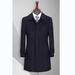 TL500153貴州男大衣定做藏青色50羊毛一字領暗門襟扣中長款男大衣