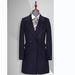 TL500653貴州女大衣定做藏青色50羊毛大西裝領雙排一粒扣女大衣