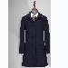 TL500253貴州女大衣定做藏青色50羊毛一字領暗門襟扣女大衣