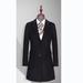TL500870貴州女大衣定制黑色50羊毛西裝領單排兩粒扣中長款女大衣