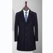 TL3605貴州男大衣定做藏青色50羊毛戧駁領單排扣兩粒中長款男大衣