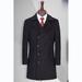 TL500570貴州男大衣定做黑色50羊毛大翻領雙排四粒扣中長款男大衣