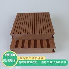 定制普瑞塑木140*28实心木塑栈道地板 户外木塑地板图片
