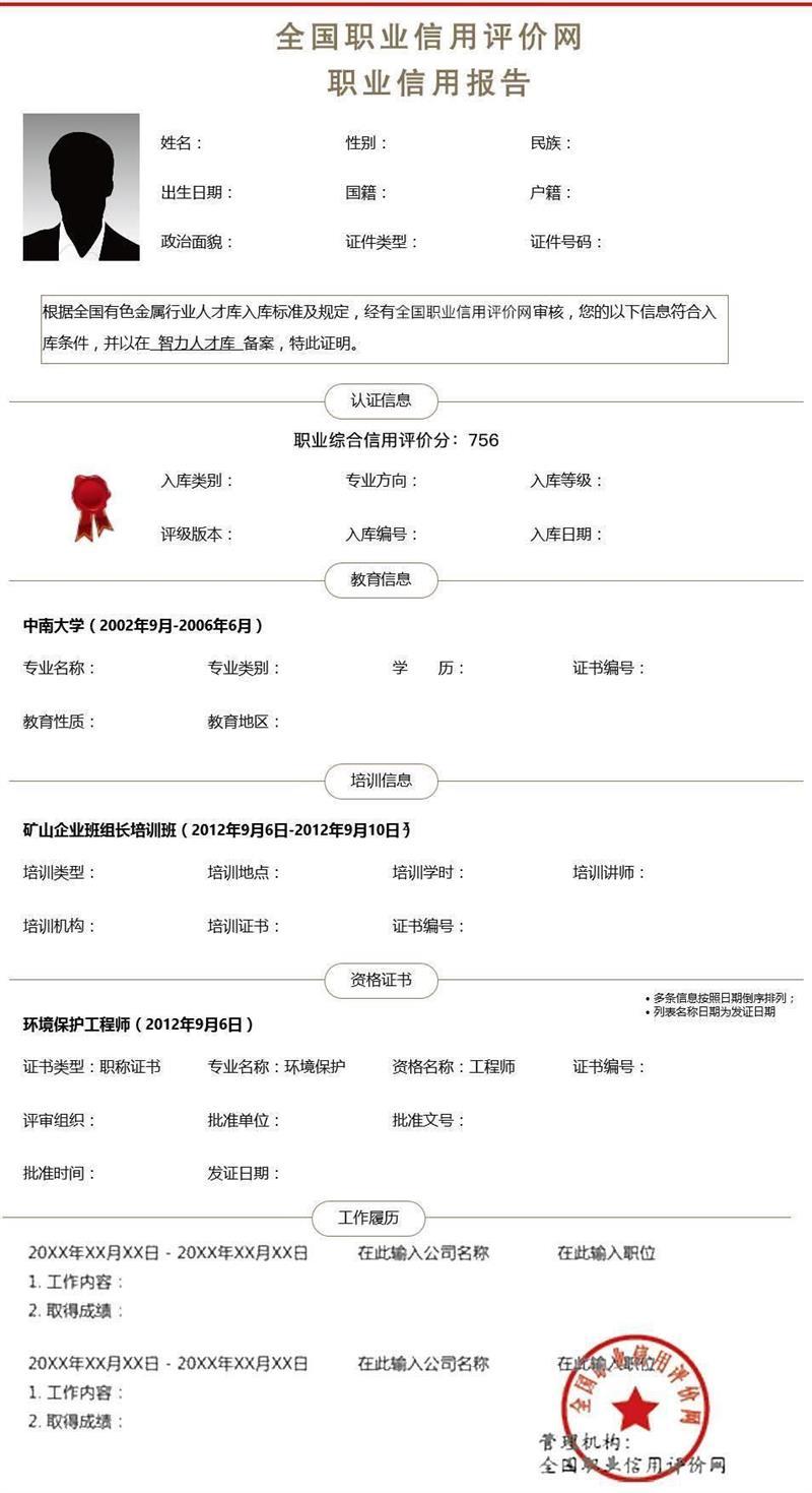 南寧北京職業信用報告