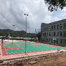 晋城速瑞学校硅pu丙烯酸篮球场网球场羽,塑胶跑道图片