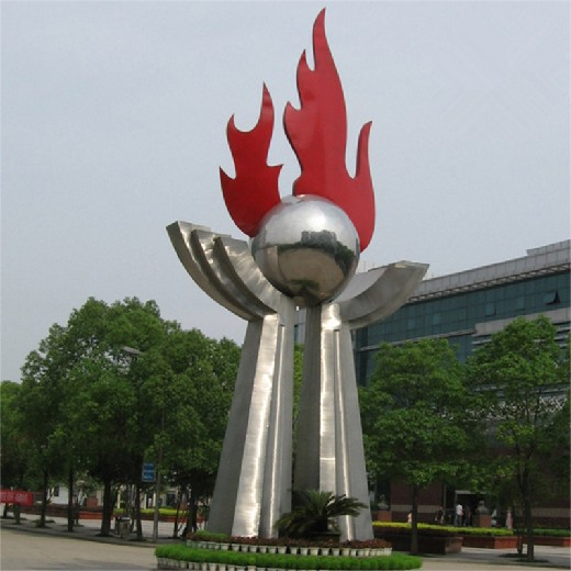 唐韵火苗雕塑,甘肃大型不锈钢火焰雕塑