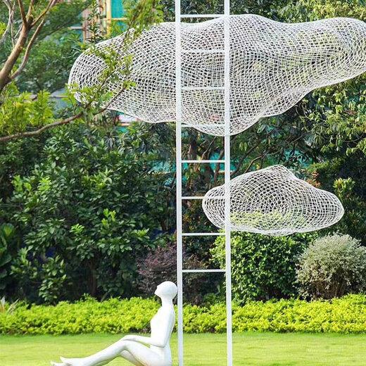 重庆园林不锈钢云朵雕塑加工厂家,云彩雕塑