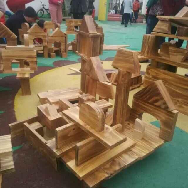 幼儿园户外实木积木儿童实木积木幼儿园趣味角积木搭建区积木】-图片