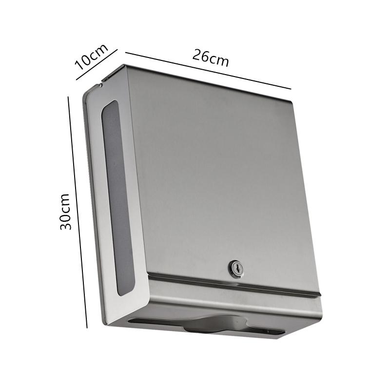 不锈钢带锁挂墙式擦手纸箱 特点: 1,两边透明设计,方便观察用纸情况
