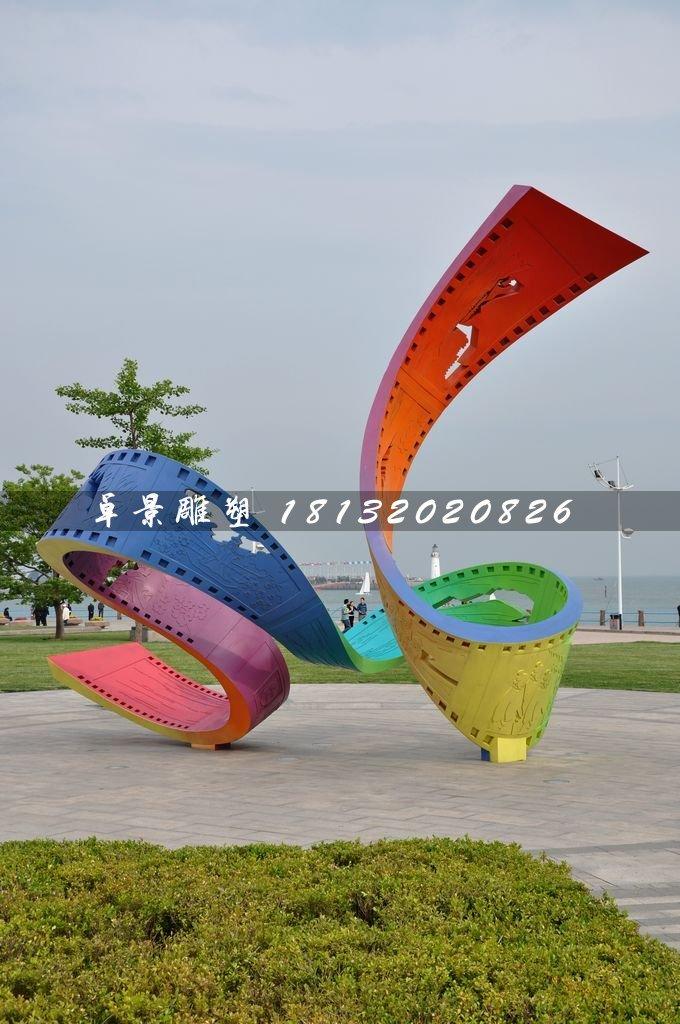 五彩胶卷雕塑,不锈钢广场雕塑