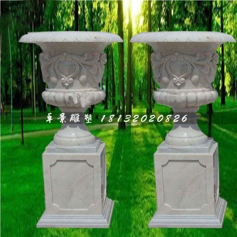 草白玉欧式花钵石雕,别墅花盆石雕