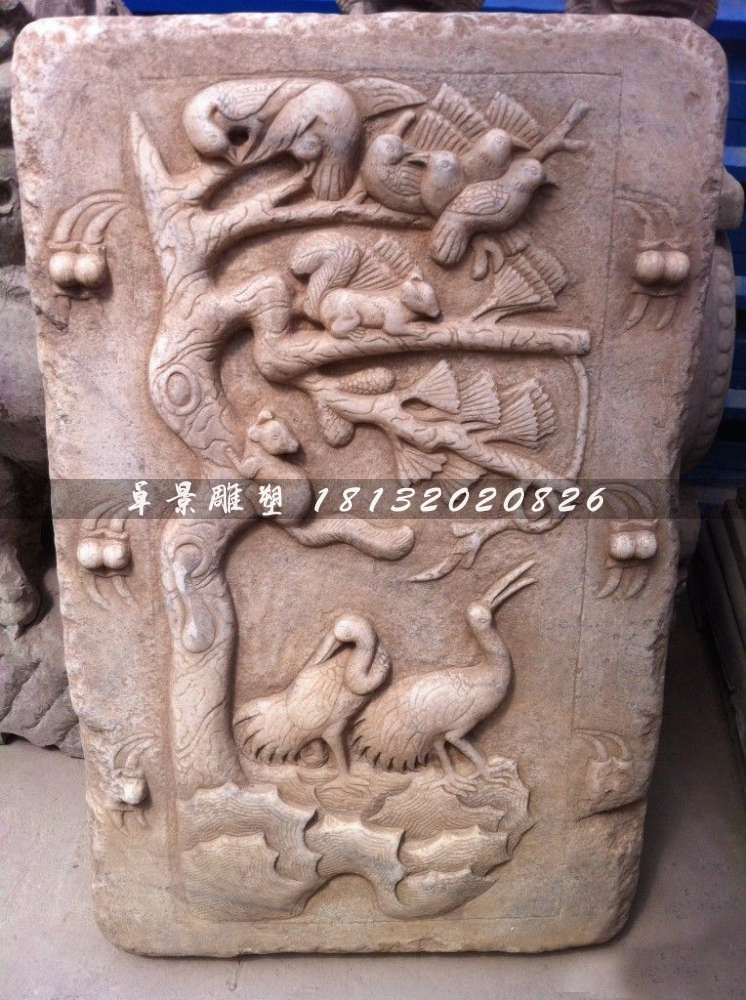 【松鹤延年石浮雕公园景观石浮雕】-黄页88网图片