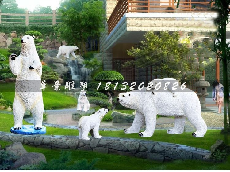 玻璃钢北极熊,公园仿真动物雕塑