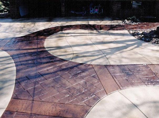 路面混凝土装饰水泥,压模装饰地坪v路面,原则压彩色的装修设计图片