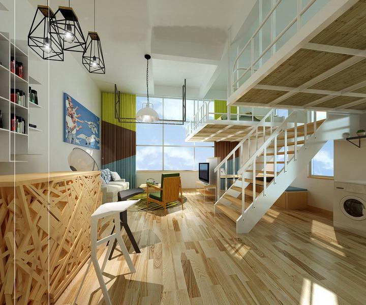 分享多款实用的loft小型办公室效果图图片