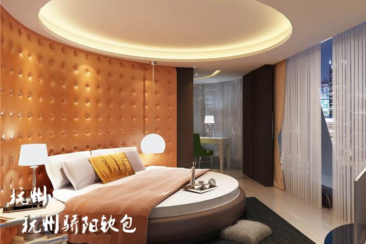 杭州艺术软包背景墙,中式软包壁画,酒店床头软包壁画产品