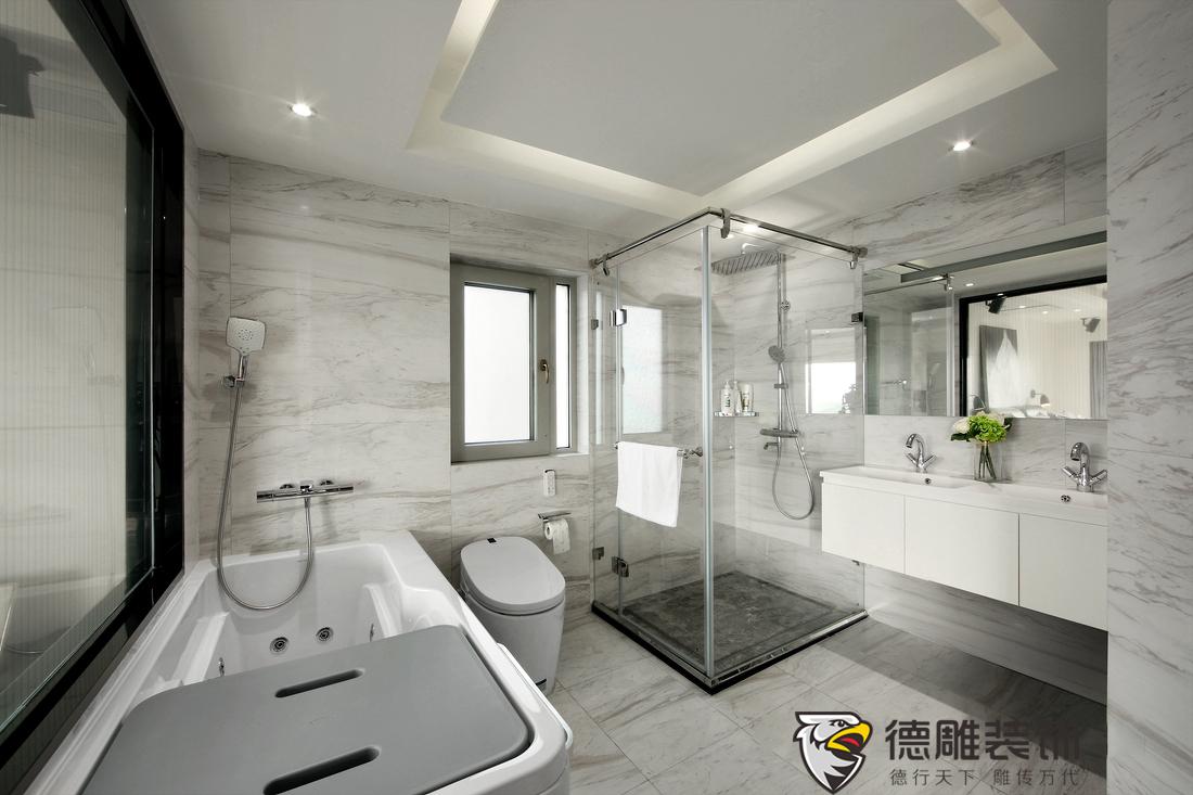 卫生间选用了爵士白的瓷抛砖,既能拓宽空间的视野,明亮干净的环境又能图片