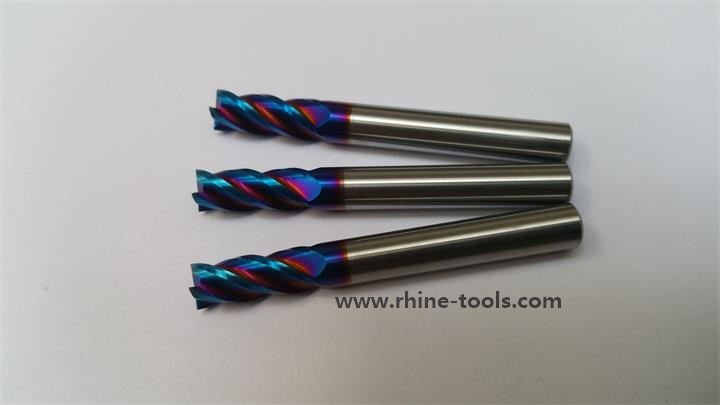 RHINE钨钢涂层铣刀批发,蓝纳米加硬铣刀,球头铣刀,圆鼻铣刀库存批发