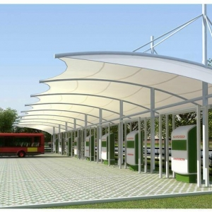 厂家供应7字形停车棚q235钢结构汽车棚白色张拉膜停车篷膜结构汽车棚