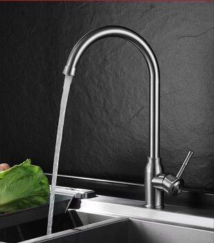 廚房單冷水全銅不銹鋼洗菜盆陽臺防濺可旋轉水龍頭