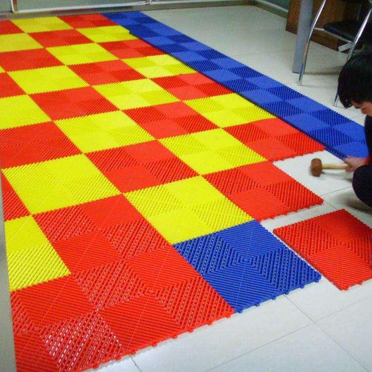 【多功能塑胶格栅展厅防滑高分子拼接地板美容贴膜车间地板格栅】-