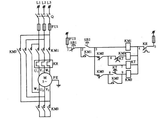 电动机y/△减压起动控制主电路和电气控制的原理图