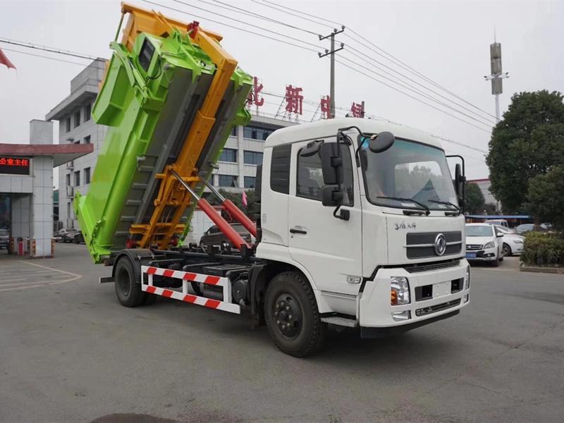 勾臂式垃圾箱厂家_十二吨东风天锦环卫拉臂车