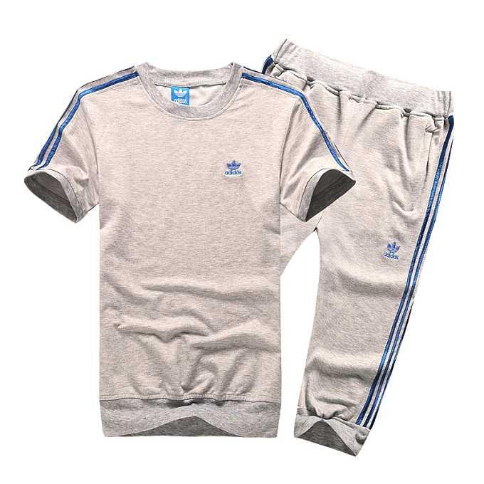 新款正品adidas男款夏季运动短袖套装阿迪三叶草纯棉休闲运动服