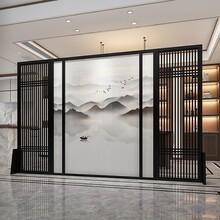 杭州拉絲黑鈦不銹鋼花格屏風咨詢圖片