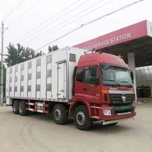 福田欧曼前四后八9.6米运猪车红色驾驶室,畜禽运输车图片