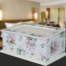 木质创意多功能首饰戒指化妆品盒珠宝收纳整理储物盒抽屉盒图片