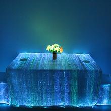 晚宴发光桌布宴会发光台布发光光纤面料