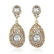 外貿爆款飾品亞馬遜熱銷韓版時尚百搭水晶鑲鉆水滴合金夸張耳環圖片