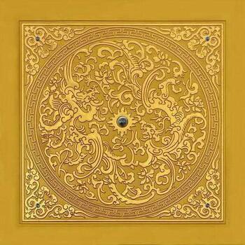 寺院寺庙佛教地宫藏式横梁莲花餐厅天花板装饰顶上集成吊顶