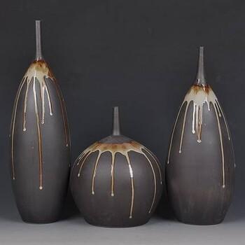 景德镇陶瓷瓷盘陶瓷装饰盘陶瓷花瓶三件套精品陶瓷花瓶
