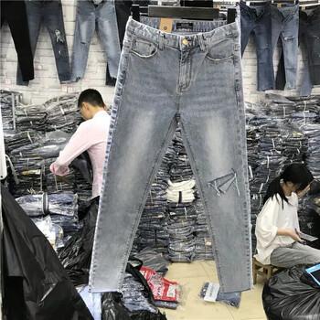 韩版女装牛仔裤长裤贵州六盘水去哪里有摆地摊早市甩卖牛仔裤几元清仓货源批发