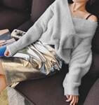 哪里有时尚针织衫批发韩版明星同款针织上衣批发时尚爆款女装针织毛衣批发针织毛衣批发