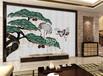 贝景松鹤图中式风格贝壳背景墙