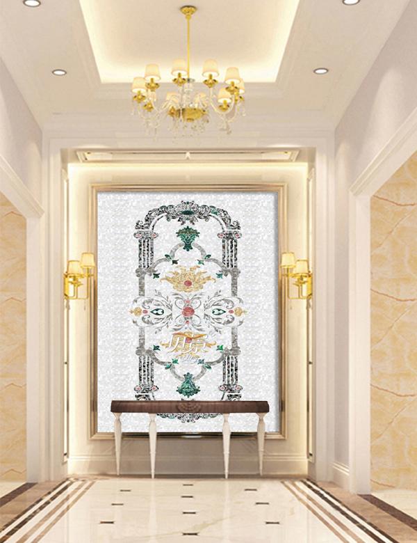 欧式花纹贝壳背景墙图片