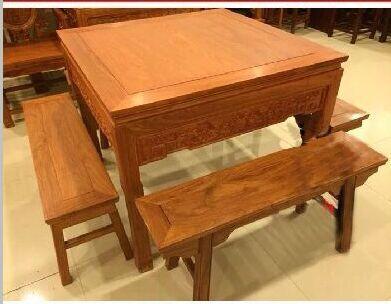 中式家具红木餐桌八仙桌非洲花梨木四方桌实木餐桌椅组合长条凳