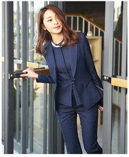 条纹西装职业装女装套装春秋新款女商务正装修身工作服西服