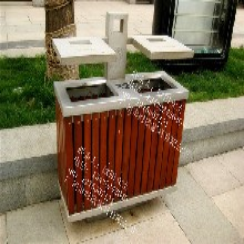 供应户外实木垃圾桶厂家定制价格优惠图片