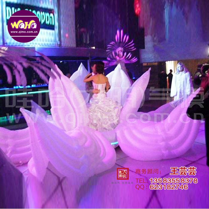 婚庆新娘入场开花道具新娘在花中间电动开关爆开的充气花朵莲花路引婚庆拱门气模