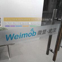 武汉写字楼办公玻璃贴膜,企业玻璃门磨砂贴膜,玻璃横条腰线制作