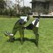 鹿抽象雕塑-SketchUp模型库玻璃钢动物雕塑不锈钢鹿雕塑小品摆件